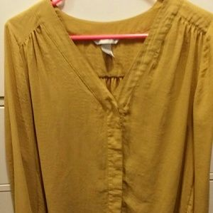 H & M mustard long sleeve blouse